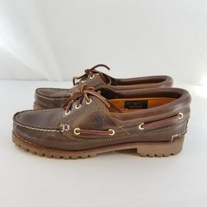 TIMBERLAND Leather Brown Boat Shoes Sz 8 Wide